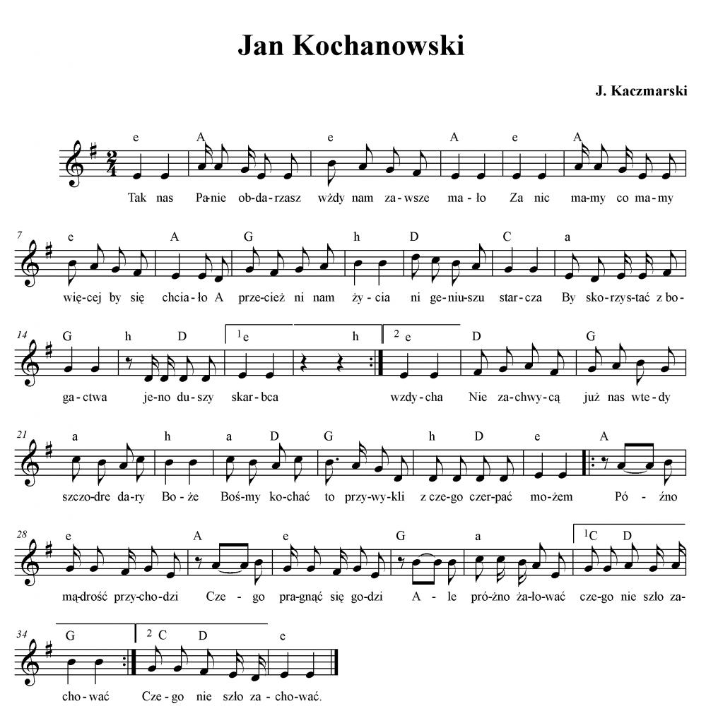 Jan Kochanowski Wwwkaczmarskiartpl