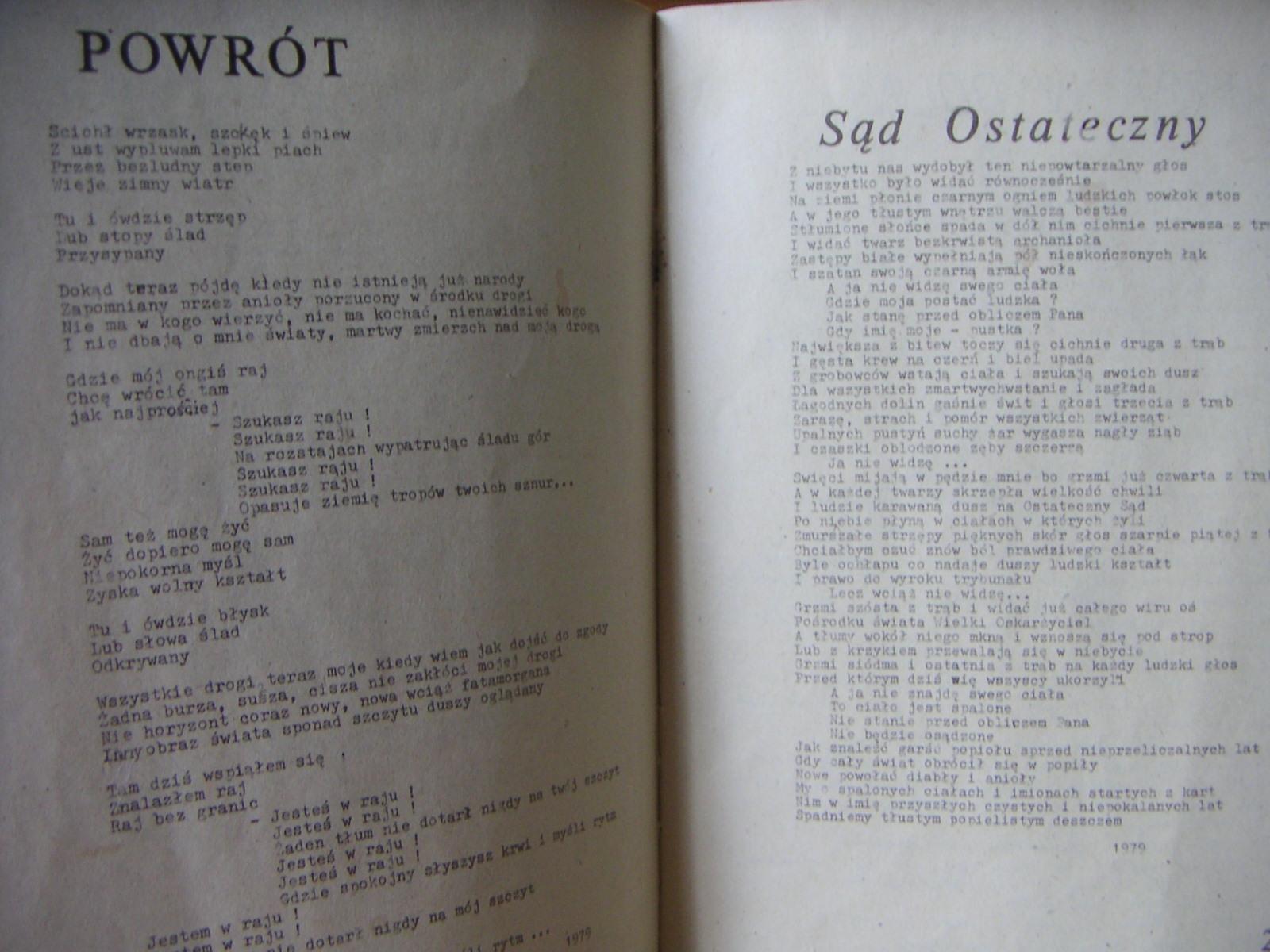 Jacek Kaczmarski, Tomik poezji ze stanu wojennego, Wydano prawdopodobnie w Krakowie ok 1981 roku. Wydawnictwa nie podano.